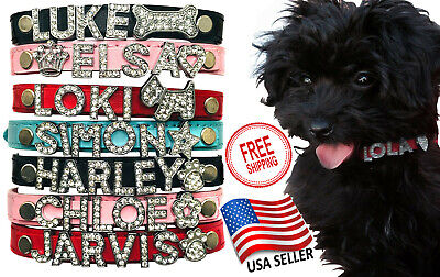 🔥Leather Dog Cat Pet Personalized Collar - XS, S, M, L Rhinestone Names 🐕 😼