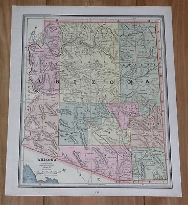 1890 Original Antique Map Of Arizona / Verso Map Of Utah