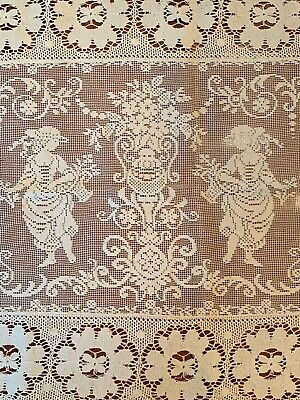 Rare Antique Figural Embroidered Lace Table Runner Ivory