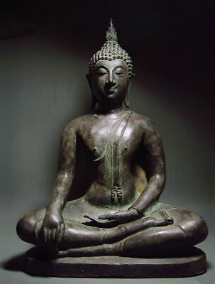 A-ANTIQUE BRONZE MEDITATING SUKHOTHAI BUDDHA, TEMPLE RELIC. 18/19th C.