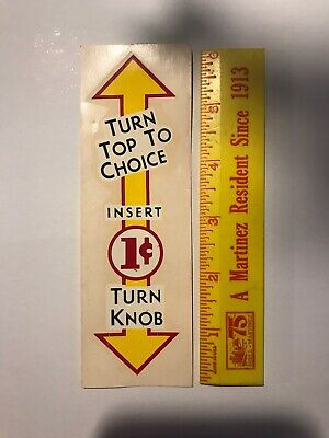 1950's 1960's WATER SLIDE 1Cent Gumball Vending Machine Great Decal AS-IS 👀LQQK