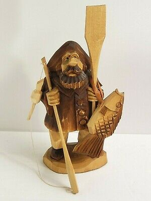"Carved Wood Caricature Figure FISHERMAN Paddle Pole Fish 8.5"" tall"