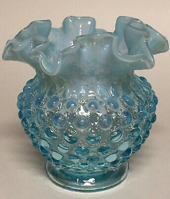 Fenton Glass Hobnail Blue Opalescent Ruffled Ball Vase Rose Bowl 4.25""