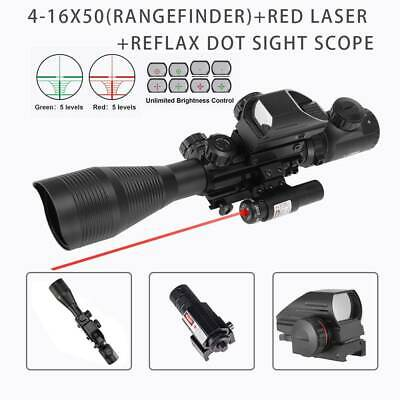 4-12X50 Rangefinder Mil Dot Reticle Rifle scope Laser Sight &Red Dot Sight Pinty