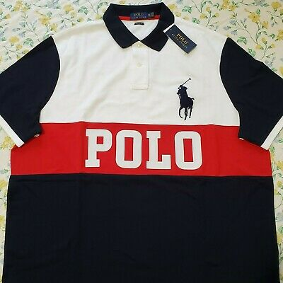 Mens Polo Ralph Lauren Classic Fit Colorblock Polo Shirt Big Pony White/Multi
