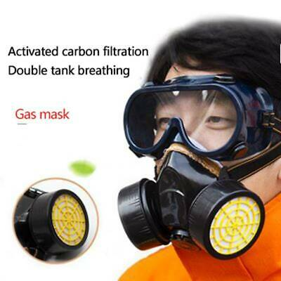 Respirator Gas Face Ma-sk Safety Chemical Dustproof Filter Military Eye Goggle