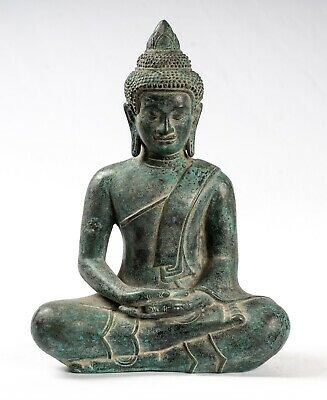 Buddha - Antique Khmer Style Bronze Seated Meditation Buddha Statue - 25cm/10""