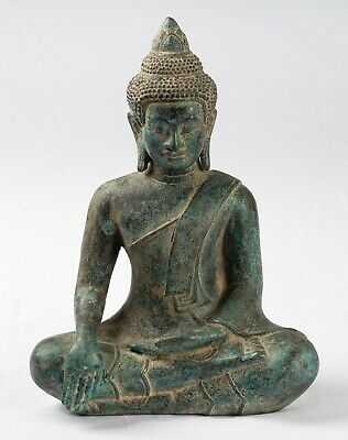 Buddha - Antique Khmer Style Bronze Seated Enlightenment Buddha Statue -25cm/10""