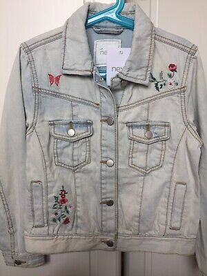 NEXT girls applique detail faded blue denim jacket, age 9 years. 100% Cotton