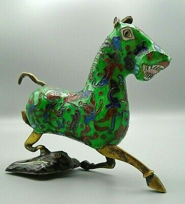 Vintage Cloisonné Chinese Flying Horse of Gansu Galloping On a Flying Swallow