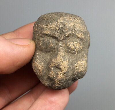 Pre-Columbian Ancient Anthro Alien Human Pottery Head Artifact Terracotta