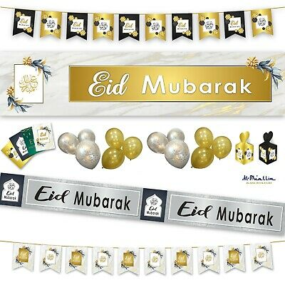 Eid Mubarak Decorations Party Banner Balloons Flags Bunting Cards Gift Set 2020
