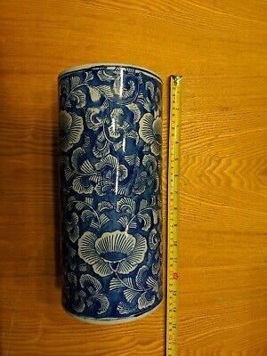 Antique Vintage Authentic White Blue Lotus Hand Painted Cylinder Vase Old China