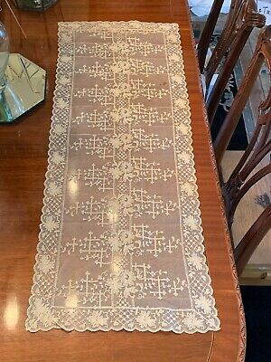 Rare Antique Embroidered Lace Runner Ivory