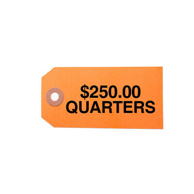 $250 Quarters - Coin Bag Label - Color-Coded - Hang Tag - Pack of 1000