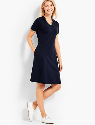 TALBOTS NAVY BLUE SHORT SLEEVE SPLIT NECK UPF 50 PIQUE POLO DRESS PLUS Sz 1X