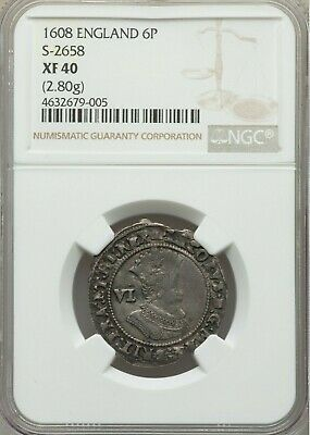 """1608 NGC XF.  James I Sixpence. Son of Mary """"Queen of Scots"""" England Silver"""