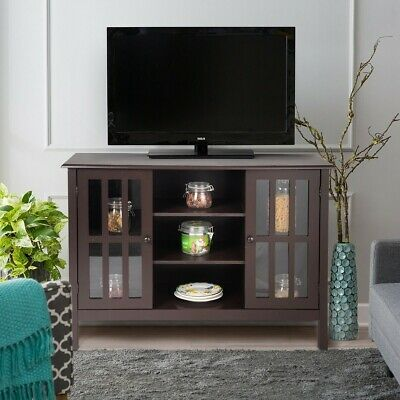 "Simple Large Capacity Wooden TV Stand Console Cabinet for 45"" TV W/ Glass Window"