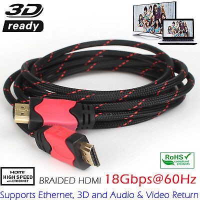 New HDMI Premium Cable V1.4 Gold Plated High Speed Audio 3D Ultra HD 10FT 15FT