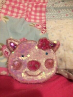 Personalised Girl//Lady Denim Purse With Cute PIG PIGLET