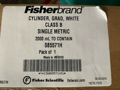 Fisherbrand 085571H Cylinder Graduated Class B 2000 ml New in Box