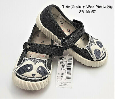 Next Younger Girls Grey Black White Cute Racoon Stars Pumps Mary Jane Shoes New