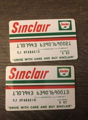 Lot of 2 Sinclair Oil Company Gas & Oil Credit Cards for Collectors Only A19