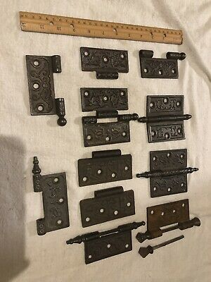 15 Lot Antique Victorian East-Lake Door Hinges Hardware Ornate Cast Iron Steeple