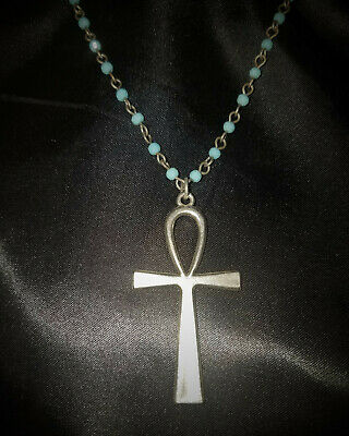Silver Ankh Pendant Silver/Turquoise Glass Beaded Chain Necklace Egyptian Gothic