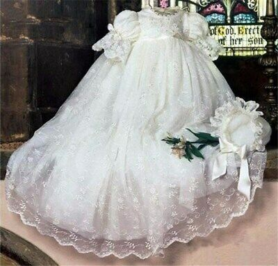 Baby Christening Gown Lace Baptism Dress Lantern Sleeve Outfit With Bonnet New