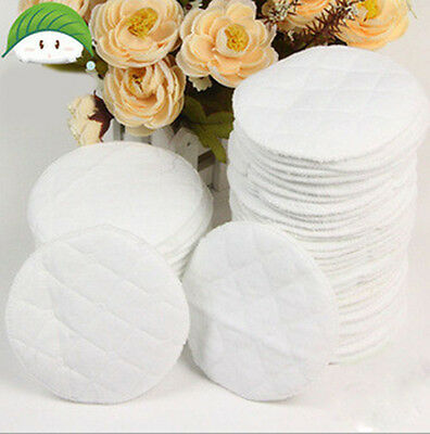 10x Bamboo Reusable Breast Pads Nursing Waterproof Organic Plain Washable Pad Df