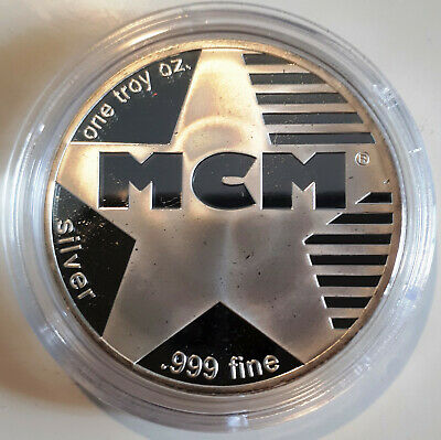 """1 OZ Modercoinmart MCM """"STAR"""" ARGENTO SILVER ROUND ONE TROY OUNCE ONCIA"""
