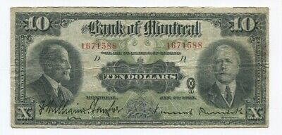 1923  Dominion of Canada $2 Note, Black Seal Bank Of Montreal $5 & $10 VF Notes.