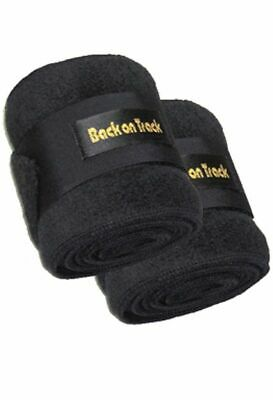 """BACK ON TRACK Equine Horse Polo Leg Wraps Fleece Heat Therapy Black 11"""" Pair"""