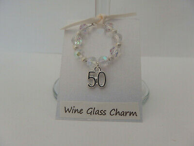 Sparkly Clear Faceted AB Glass and Silver 30th Birthday Wine Glass Charm