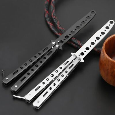 NEW Butterfly Folding Trainer Knife Training Dull Tool BL/Sliver Metal Practice