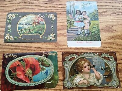 4 antique German postcards; over 100 years old; 1 cent stamp; SHIPS FREE
