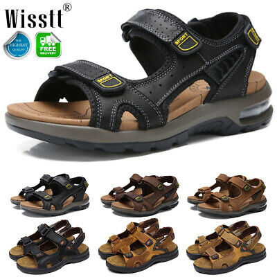 Men's Big Size Hiking Leather Sandals Leisure Hollowed Fisherman Air Beach Shoes