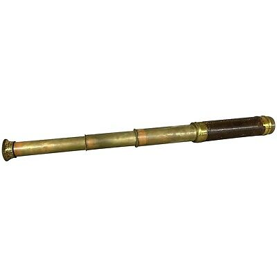 Victorian Brass Three Draw Telescope with Leather Grip