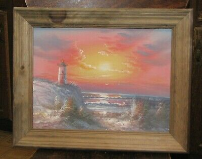 """Lighthouse Sunset Over the Ocean Oil Painting Wooden Frame Waves Seagulls 16x20"""""""