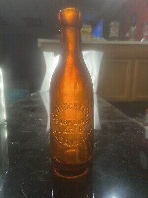 Antique F. Hinckels Sparkling Lager Bottle Albany NY 1880 Amber Blob Top