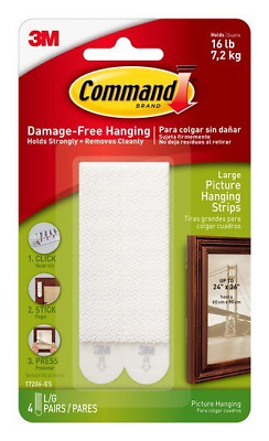 3M Command Damage-Free 16LBS Hanging Strips - 6 Individual/3 Pairs FREE SHIPPING