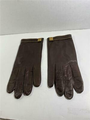 NEW NWOT Anne Klein for Aris Brown Leather/Gold Tiger Emblem Size 8 Gloves