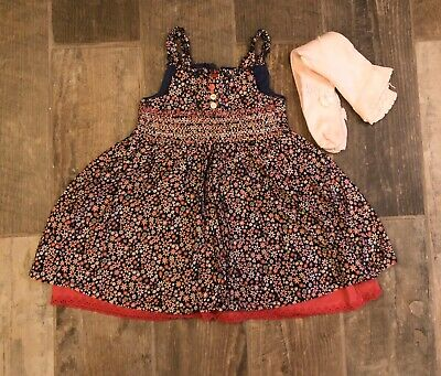 Baby Girls Dress And Tights Outfit Set. Next Day Post. Age 6-9 Months