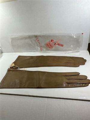 NEW NWT Miss Aris of Paris Real Kid Leather Elbow Length Gloves Size 7.5 Brown