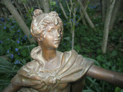 """Antique French Spelter Lady 19Th Louis Auguste Moreau """"Litterature"""" 27"""" Tall"""