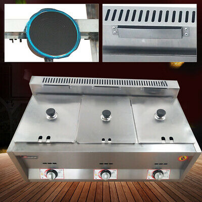 "3 Pan Commercial Gas Fryer Steam Table Food Warmer Kitchen Steamer 6"" deep Pan"