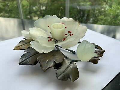 Vintage Hand Made Jade Flower Candle Holder