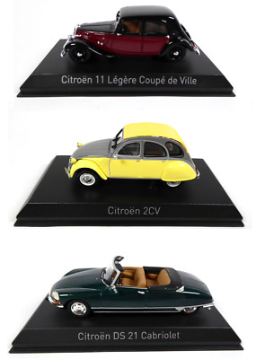 Lot de 3 Citroën 2CV + Traction + DS 1/43 Norev Voiture miniature Diecast Model