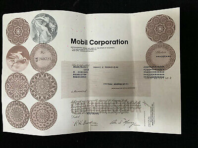 Mobil Corp Oil Corporation Common Stock Certificate -Brown 1990